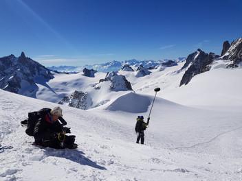 Tournage à la voie Rébuffat au Mont Blanc pour la RTS