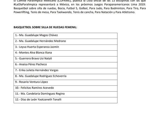 Lista oficial de atletas que participarán en los Juegos Parapanamericanos Lima 2019