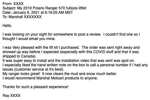 Polaris Ranger 2021 Customer Review for Marshall Motoart Lift Kit