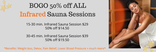 BOGO 50% off infrared Sauna Sessions .pn