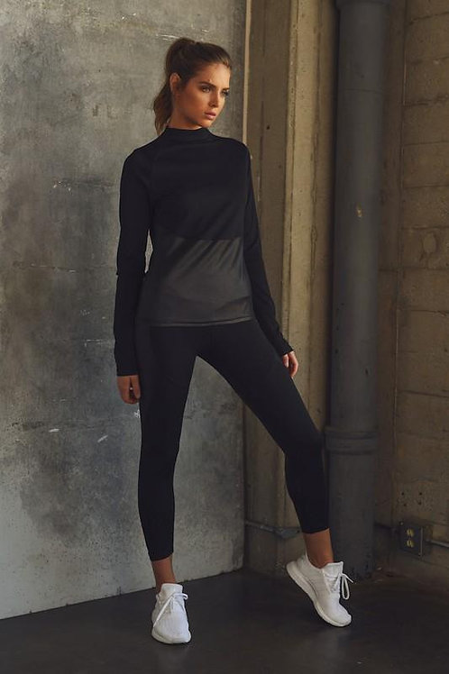 Glossy Accent Half Zip Mock Neck Pullover and Legging Set