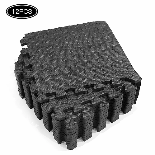 12PCS 30*30cm EVA Leaf Grain Floor Mats Gym Floor Mat for Fitness Room Workouts