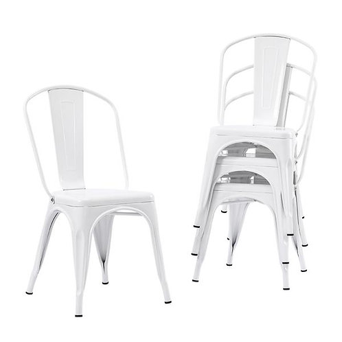 4pcs Industrial Style Iron Metal Dining Chairs