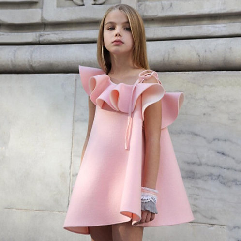 2020 New Designer | Ruffled One Shoulder Dress for Girls