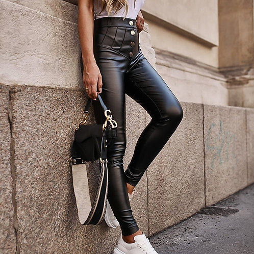 Elegant High Waist Faux PU Leather Pants