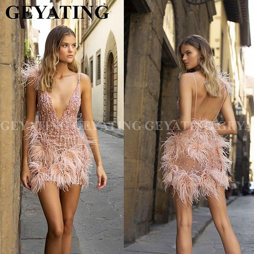 Sexy Deep V-Neck Backless Pink Feathers Cocktail Dress