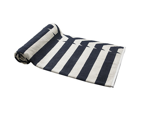 Gray Nautical Stripes Beach Towel
