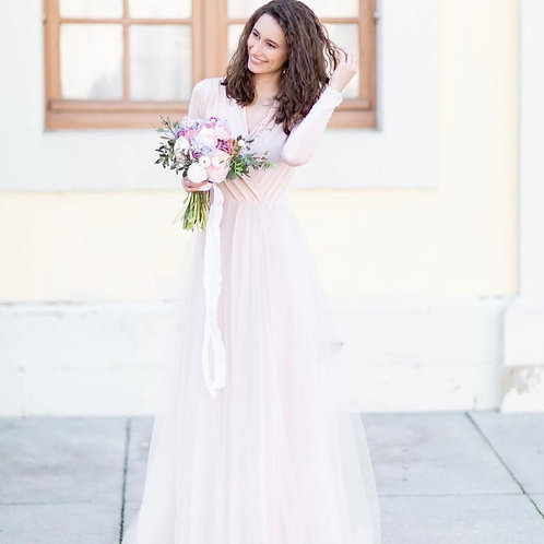 Pink Blush Maxi Tulle Dress With Long Sleeves SALE 1066