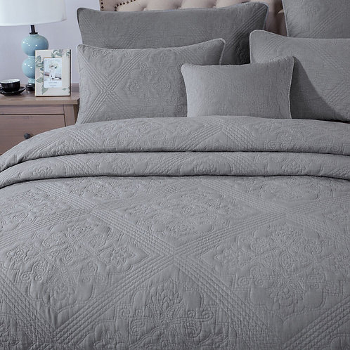 Elegant Floral Grey Diamond Pattern Quilted Coverlet Bedspread Set (JHW855)