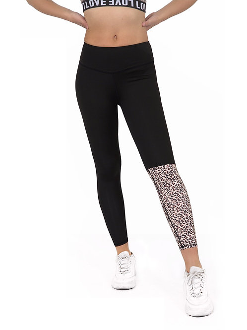 Jordena Leopard Workout Leggings - Black