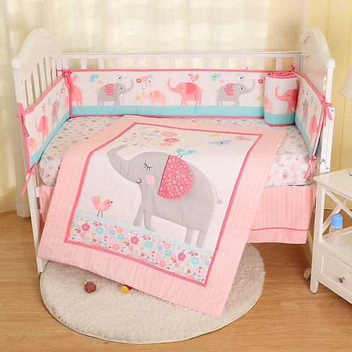 Baby Bedding Set Cartoon Animals Comforter Crib Sheet Crib Skirt Crib Bumper