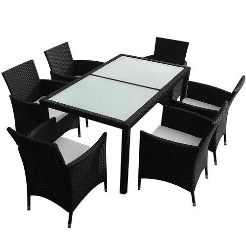 【AU Warehouse】Furniture 13 Piece Garden Furniture Set Poly Rattan Black
