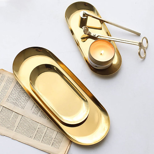 Candles Accessories Golden Decoration Tray