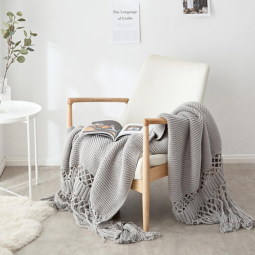 Nordic Hand-Knitted Knitted Wool Chunky Knit Blanket Photo Props Tassel