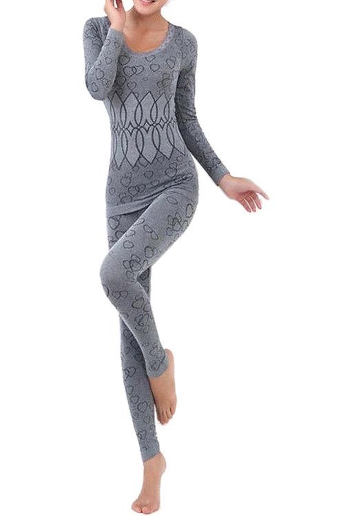 Women Round Neck Thermal Set Winter Tops&Pants Long Johns Pajama Sets Gray
