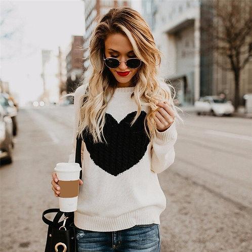 Women Reversible Heart Pattern Sweater