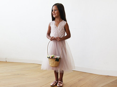 Midi Pink Tulle and Lace Sleeveless Flower Girls Dress 5047