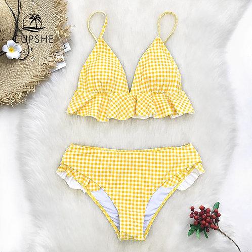 CUPSHE Yellow Gingham Ruffled Bikini Sets