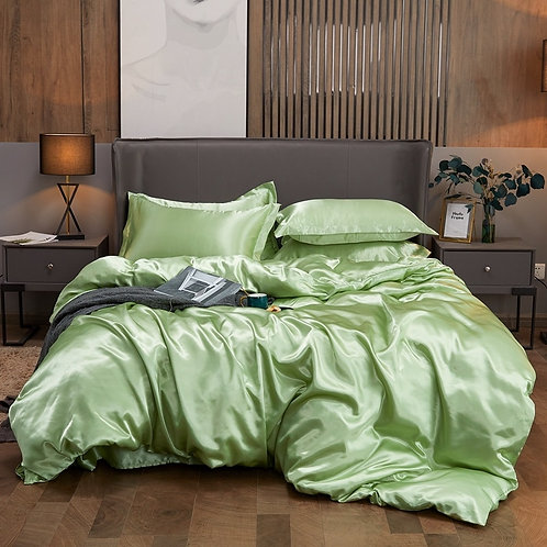 Solid Color Silk Fabric Luxury Bedding Set - Queen/King