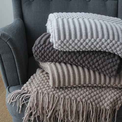 Nordic Travel Blanket Grey Khaki Sofa Throw Blanket With Tassels