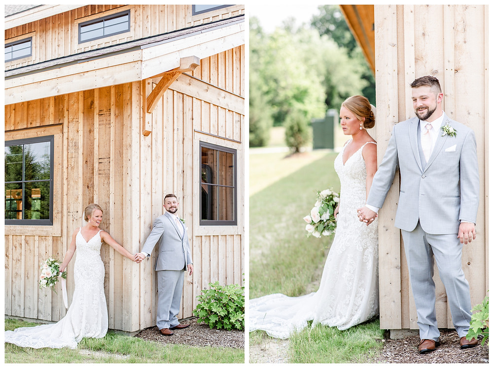 Josh and Andrea light airy joyful style wedding photography husband and wife photographer team michigan pictures photo shoot poses spring bride and groom White Oak Farm Venue first touch