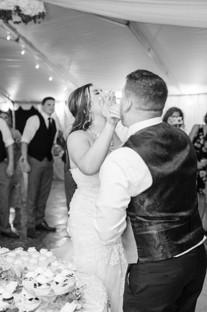 Bride and groom eating cake cute couple wedding American 1 event center Jackson michigan