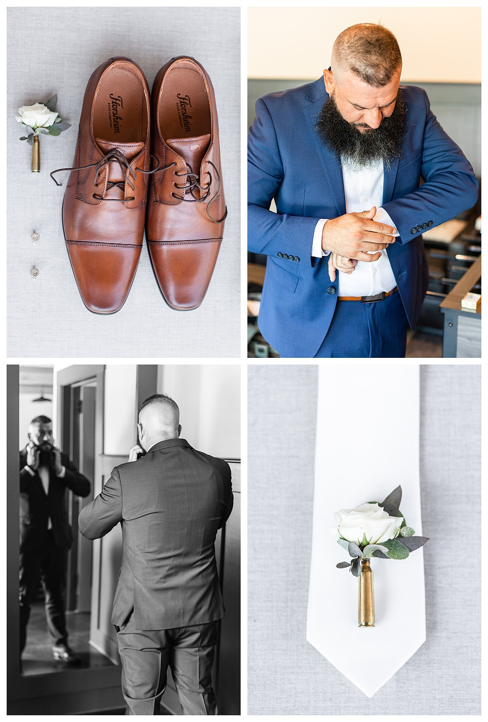 Josh and Andrea wedding photography husband and wife photographer team michigan south haven pictures Black River Barn luxury elegant wedding venue spring groom shoes getting ready boutonnière tie