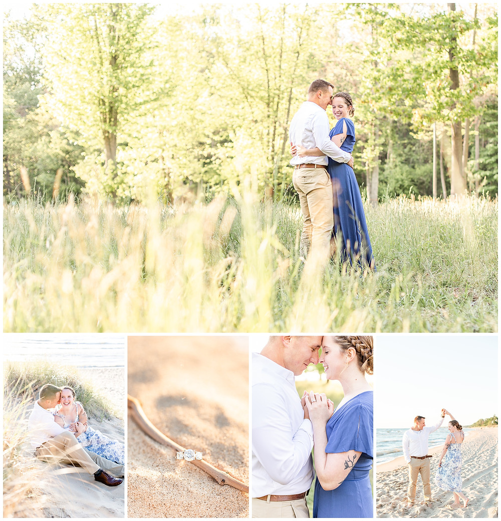 Josh and Andrea wedding photography husband and wife photographer team michigan pictures south haven engagement pictures session fields and woods photo shoot fiance beach sitting smiling ring shot