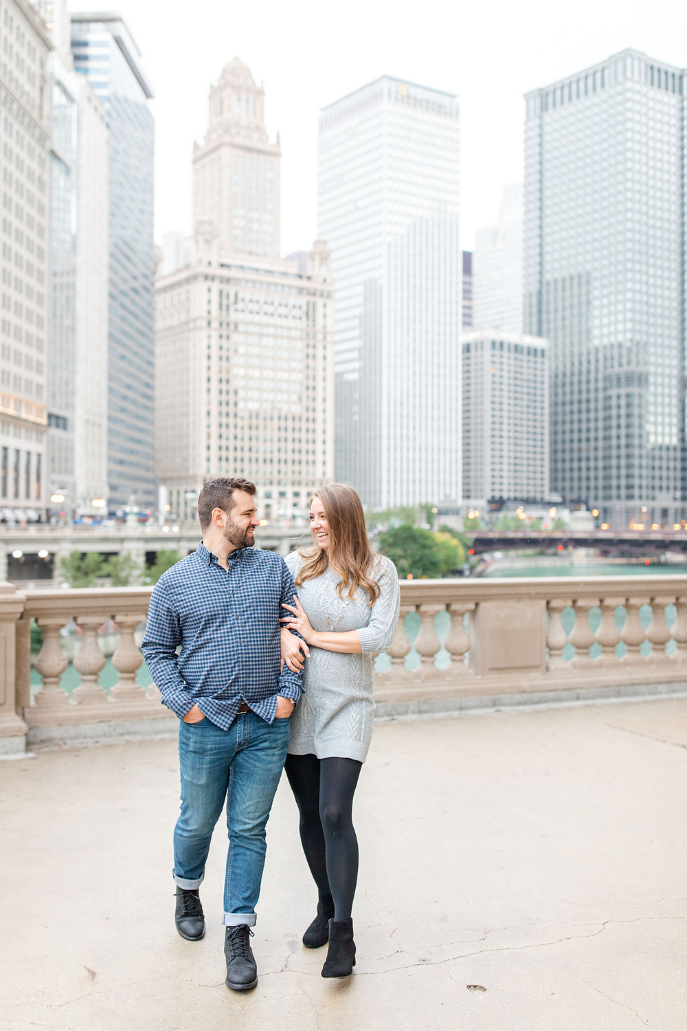 Josh and Andrea Photography Cute couple Chicago smiling walking
