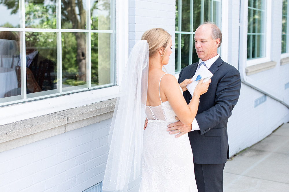 first look with dad Kent Country Club Wedding Grand Rapids