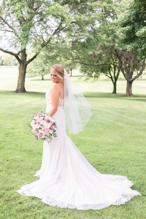 bride back of wedding dress Kent Country Club Wedding Grand Rapids