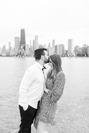 Josh and Andrea Photography Cute couple Chicago standing smiling kissing