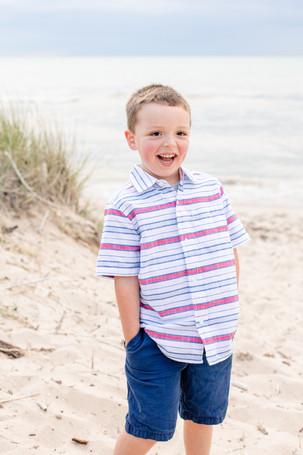 South Haven Family shoot boy on the beach at Lake Michigan