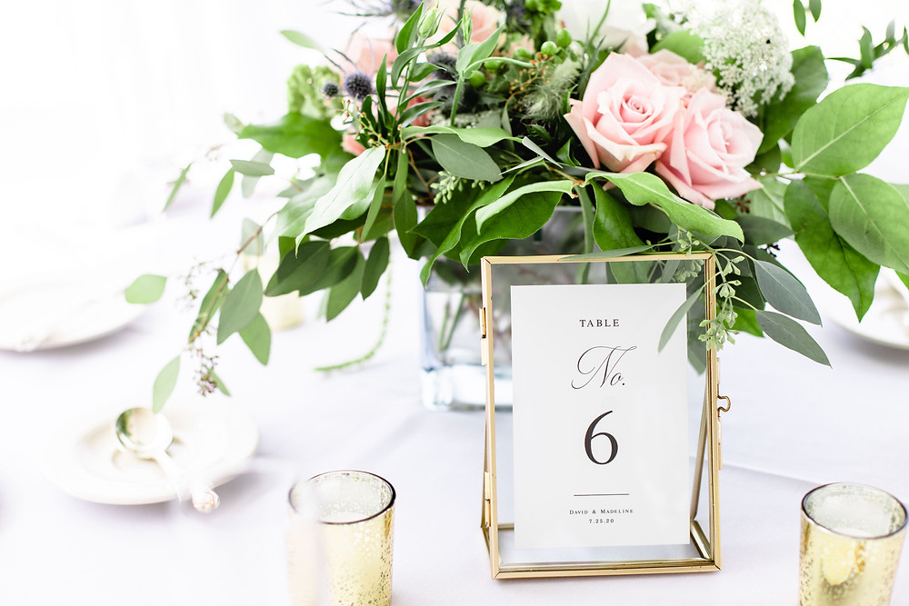 table centerpiece table number sign reception Kent Country Club Wedding Grand Rapids