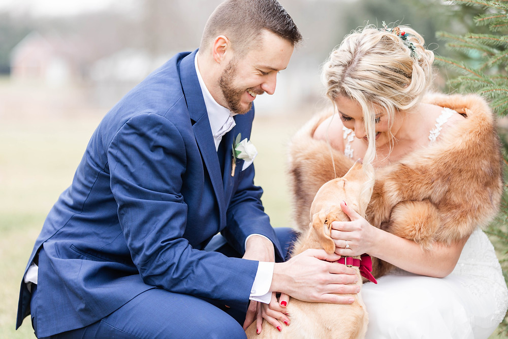 josh and Andrea photography husband and wife team michigan winter wedding bride and groom dog ring bearer