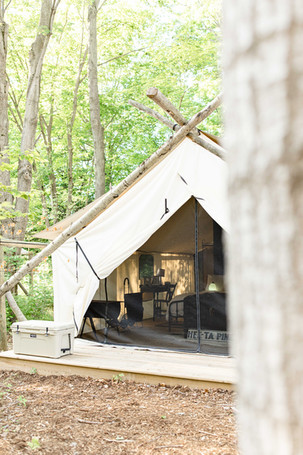 camping tent The Fields of Michigan South Haven luxury glamping experience yeti cooler