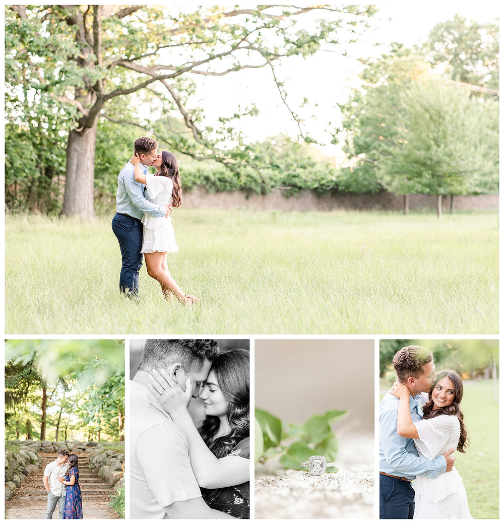Josh and Andrea wedding photography husband and wife photographer team michigan pictures photo shoot Milham Park engagement pictures session photo shoot fiance kissing