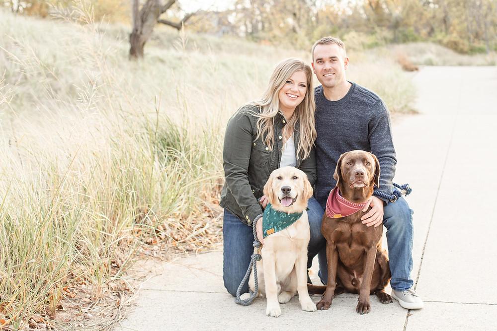 Engagement Photos Jean Klock Park Saint Joseph MI cute couple with two dogs