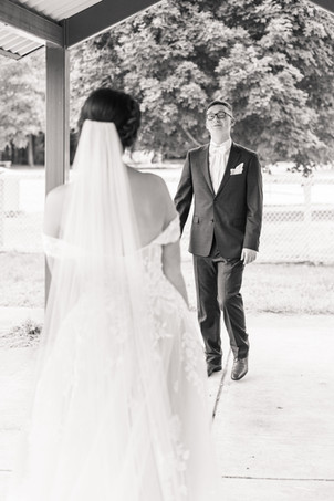 Bride and Groom first look Saint Patricks Park South Bend Indiana