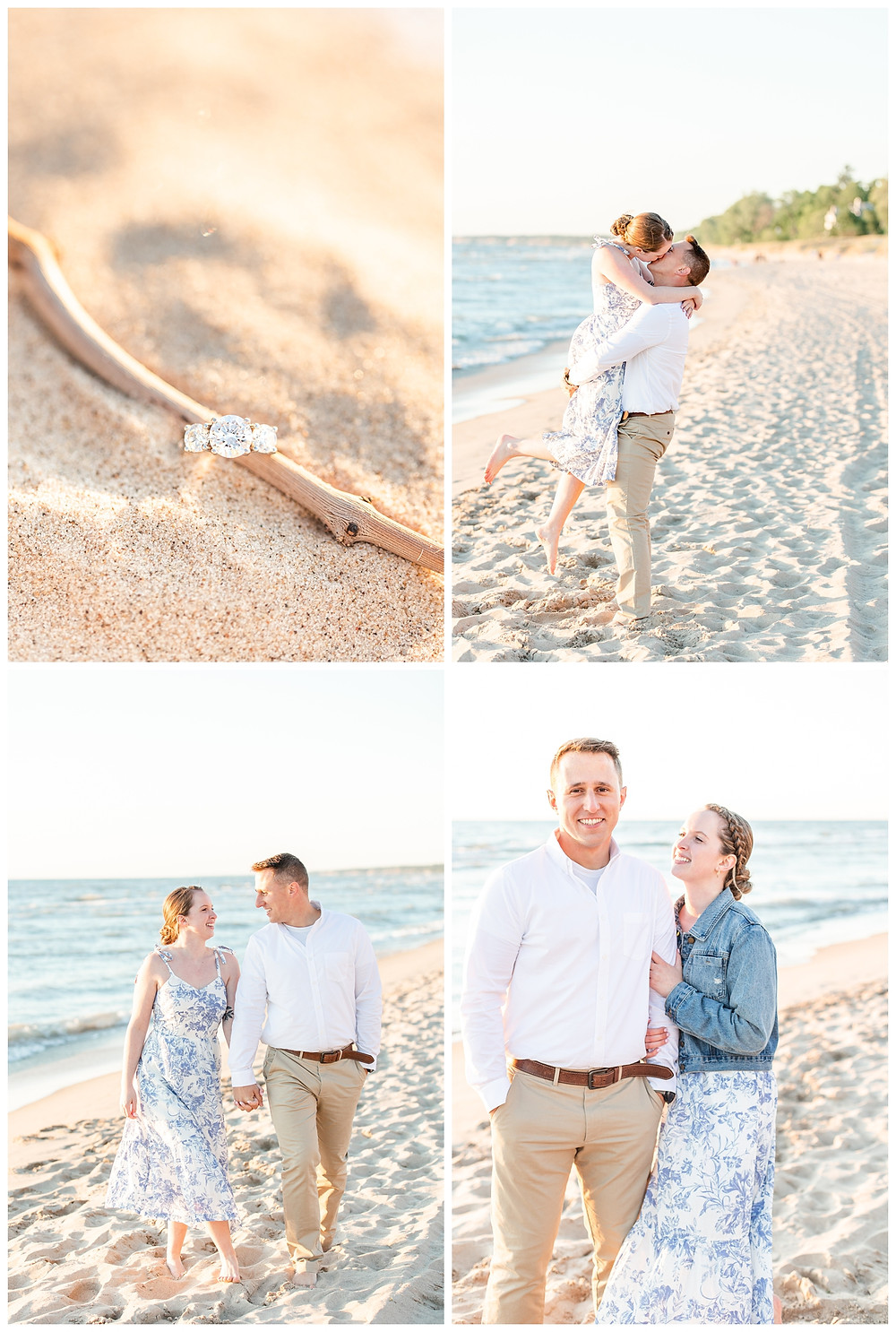 Josh and Andrea wedding photography husband and wife photographer team michigan pictures south haven engagement pictures session beach photo shoot fiance ring shot lift walking
