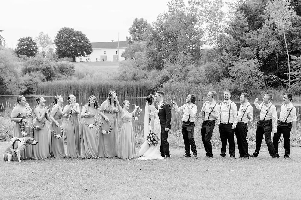 Bridal Party cheering Saint Patricks Park South Bend Indiana