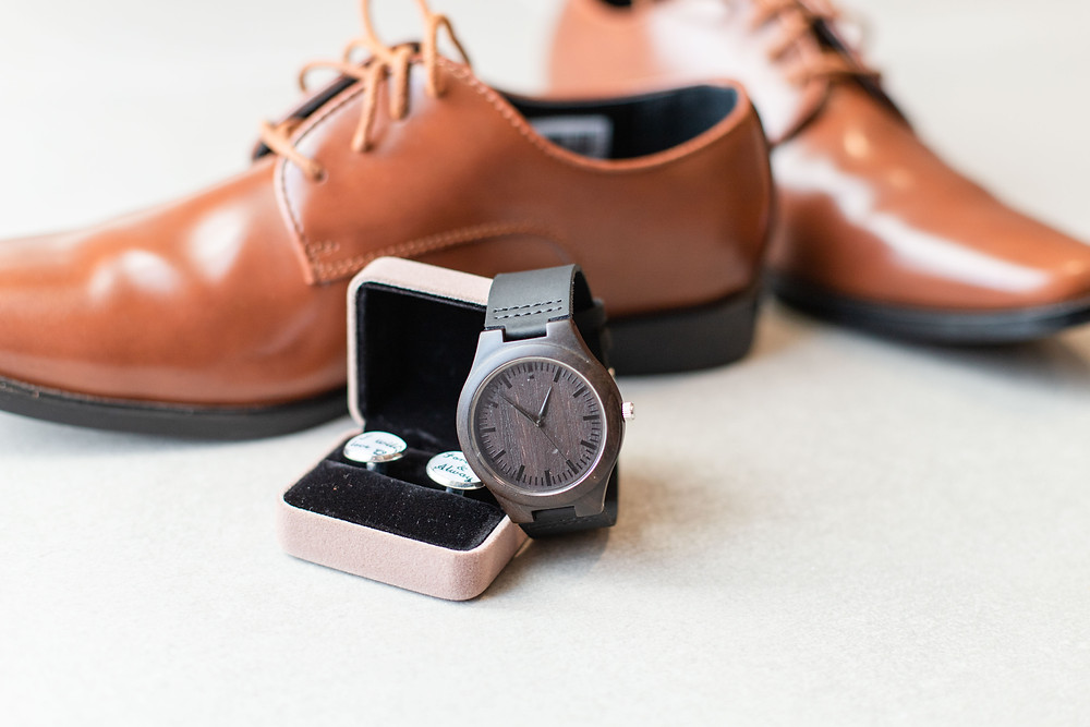 Groom details cuff links watch shoes wedding American 1 event center Jackson michigan