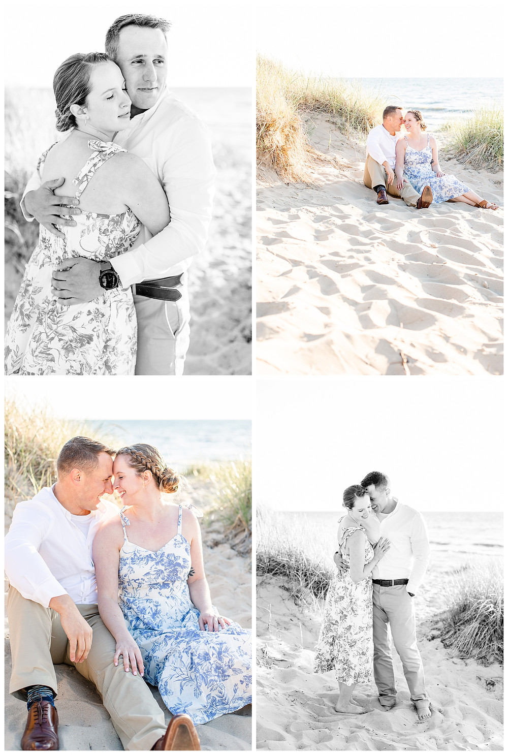 Josh and Andrea wedding photography husband and wife photographer team michigan pictures south haven engagement pictures session beach photo shoot fiance sitting hugging standing beach