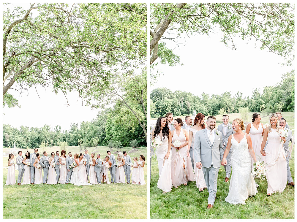 Josh and Andrea light airy joyful style wedding photography husband and wife photographer team michigan pictures photo shoot poses spring bride and groom White Oak Farm Venue bridal party