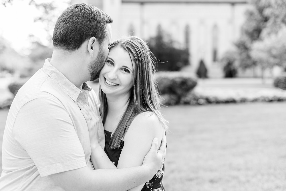 Josh and Andrea wedding photography husband and wife photographer team michigan pictures university notre dame engagement pictures session photo shoot fiance smiling