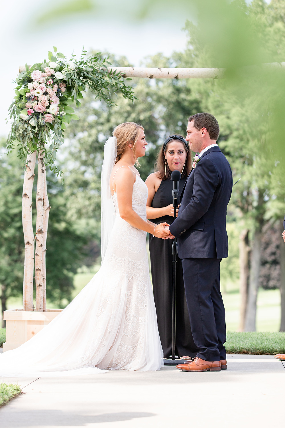 bride and groom ceremony Kent Country Club Wedding Grand Rapids