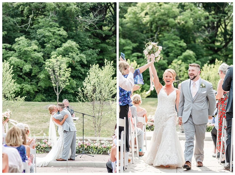 Josh and Andrea light airy joyful style wedding photography husband and wife photographer team michigan pictures photo shoot poses spring bride and groom White Oak Farm Venue ceremony