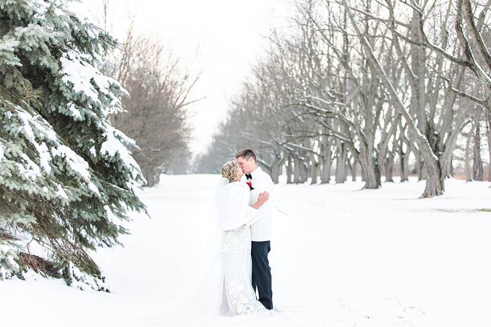 josh and Andrea photography husband and wife team michigan winter wedding south haven bride and groom kissing in snow field