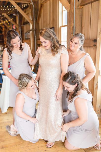 bride with bridesmaids getting ready Bangor elevator wedding venue