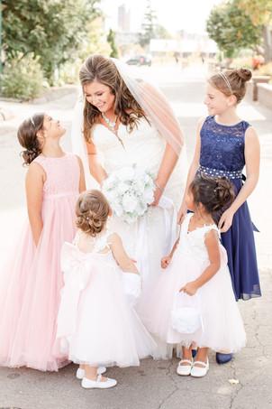 Bride and flower girls wedding American 1 event center Jackson michigan